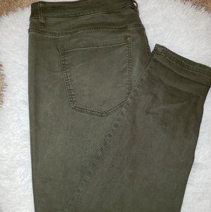 Lane Bryant Super Skinny Olive Green Denim Jeans
